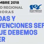 AYUDAS Y SUBVENCIONES SEF, LO QUE DEBEMOS SABER. 11.12.2018